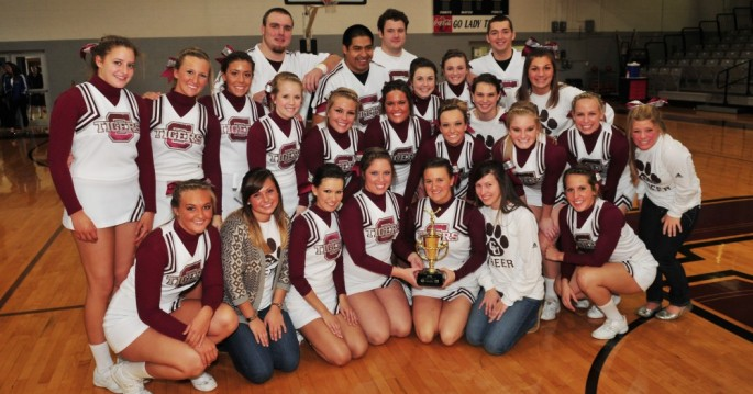Campbellsville University cheerleaders after winning the small coed division.