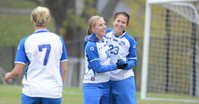 Mia Persson (left) is the NAIA Women's Soccer Player of the Year