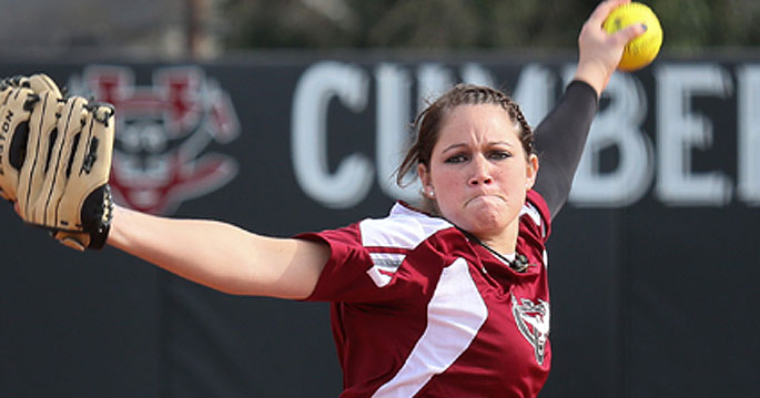 Caroline Curran pitched well in a loss Tuesday against Spring Hill College, allowing three runs on eight hits in five-plus in