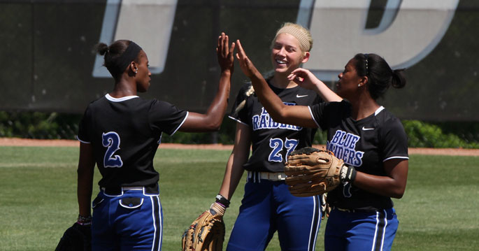 Ali Hart, center, and Travatia Bowden, right, both got a hit against AUM on Wednesday.