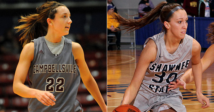 Ellen Sholtes (left) and Alannah Sheets were named to the NAIA's all-tournament second team on Tuesday night.