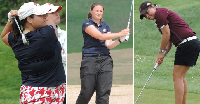 Bri-ann Tokariwski (left to right), Liz Stephens and Cassidy Scantland earns All-American honors