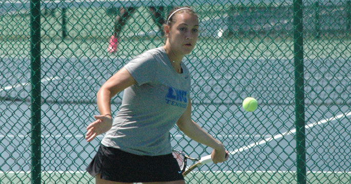 Sarah Bernos won the Blue Raiders' lone singles win in today's loss to Georgia Gwinnett