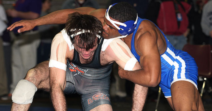 Lindsey Wilson's Jameel Bryant is one of seven MSC wrestlers in the semifinals. Photo by Tim Tushla