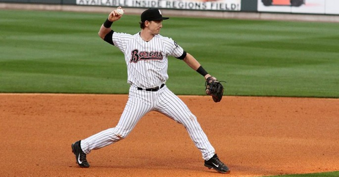 Chris Curley was a starting second baseman for the Birmingham Barons (Chicago White Sox AA) in 2014. (Birmingham Barons photo