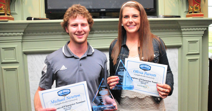 Michael Newton and Olivia Parrott earned Champions of Character honors
