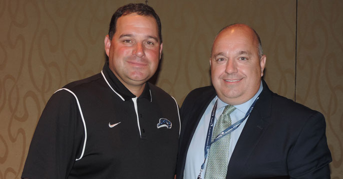 LWC athletics director Willis Pooler (left) presented Chris Wells the 2015 Clarence �Ike� Pearson award today