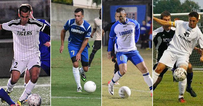 Marcelo Petit (left to right), Tom Moody, Renan Serafim and Ashley Woods all earned honorable mention All-American honors
