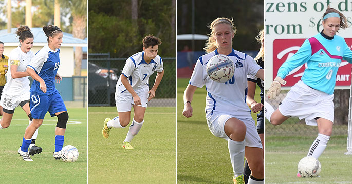 Elizabet Madjarac (left to right), Bettina Brulhart, Amanda Kander and Lindsay Kitson are NAIA first team All-Americans