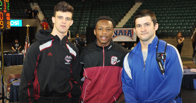 Jake Williams (left to right), Davion Caston and Joe Coazart all won national titles on Saturday.