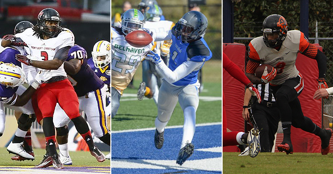 Aaron Cooper (left to right), Rob Lockhart and Quan Weaver were named to the AFCA-NAIA All-American team