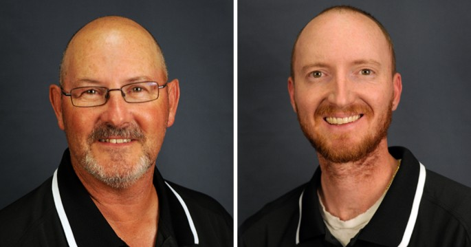 Jim Ward (L) and Casey Young (R) were hired Aug. 21 as the new men's golf coaches at CU